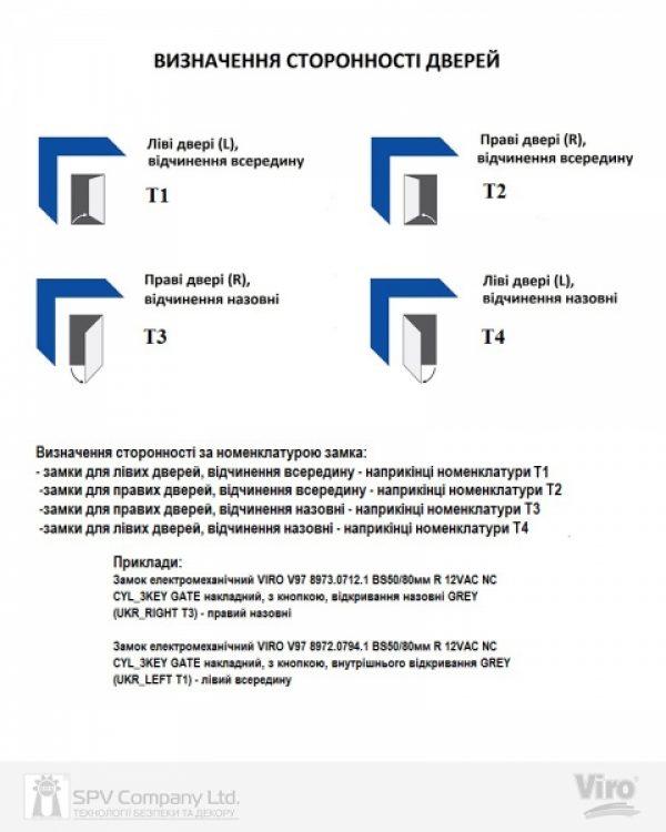 Фото 3 - Замок электромеханический VIRO V9083.0794P BS50/80мм T1/T2 12VAC NC CYL 3KEY GATE накладной, с кнопкой SS открывание внутрь.