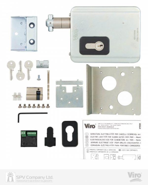 Фото 5 - Замок электромеханический VIRO V09 ВЅ50мм UNIV DIN 12VAC NC GATE накладной SS.