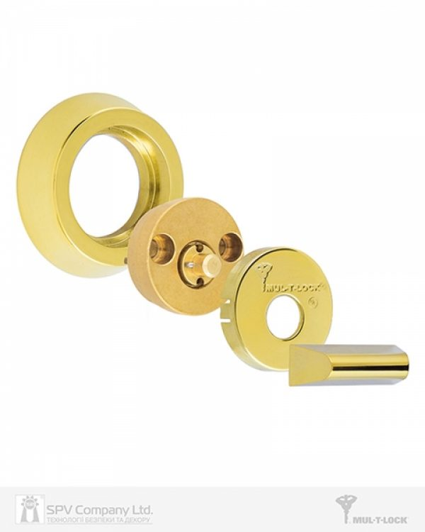 Фото 2 - Замок врезной MUL-T-LOCK 1-WAY DEAD BOLT HERCULAR SHINY BRASS UNIV BS60/70мм *INTERACTIVE+ 3KEY DND3D BLUE INS 264S+ wood door SP.