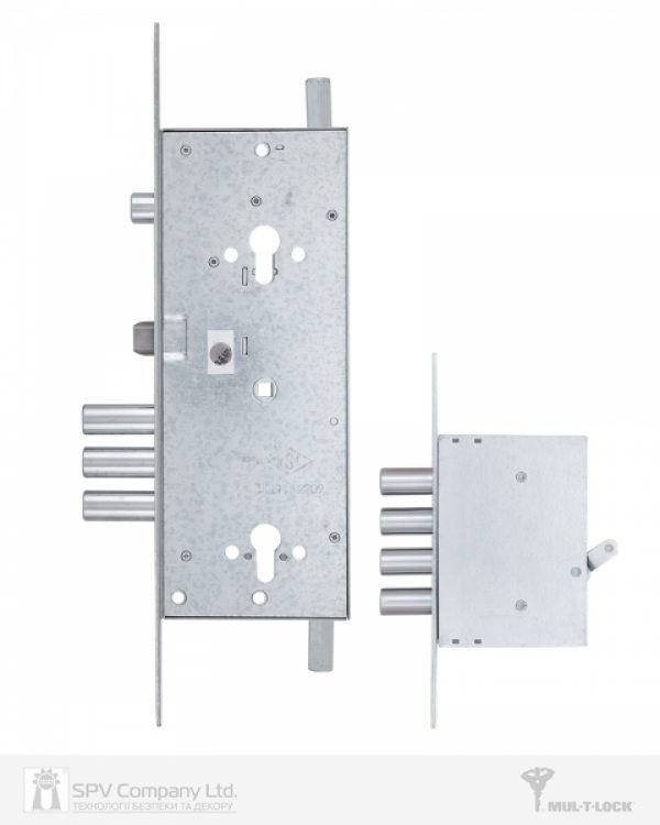 Фото 7 - Замок врезной MUL-T-LOCK 3-WAY DIN+DIN 415G CR SATIN NICKEL UNIV ВЅ63мм 2 protectors SP.