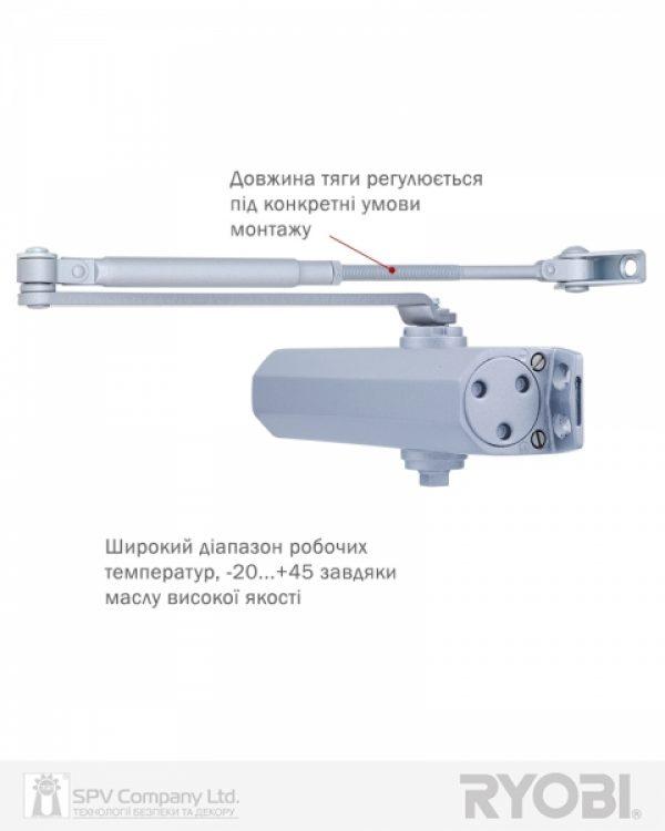 Фото 11 - Доводчик накладной RYOBI *1500 D-1554 SILVER STD ARM EN 2/3/4 до 80кг 1100мм FIRE.