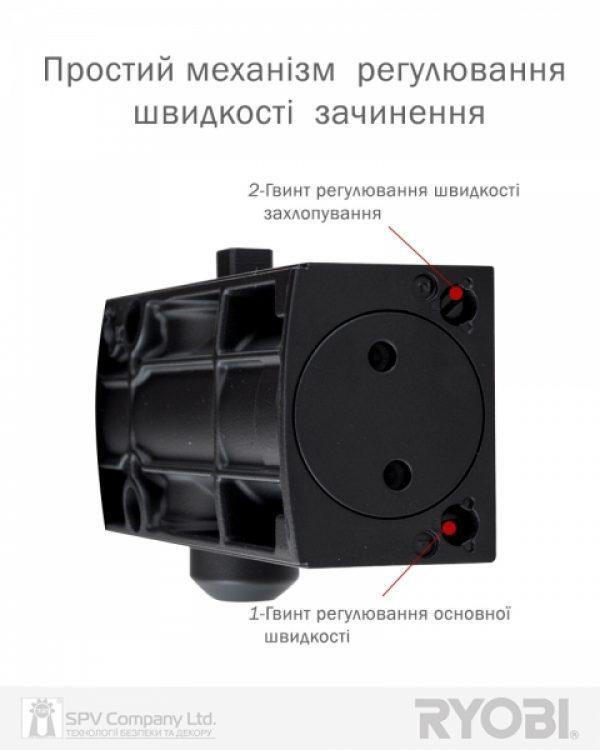 Фото 6 - Доводчик накладной RYOBI 1200 D-1200 BLACK STD ARM EN 2/3/4 80кг 1100мм.