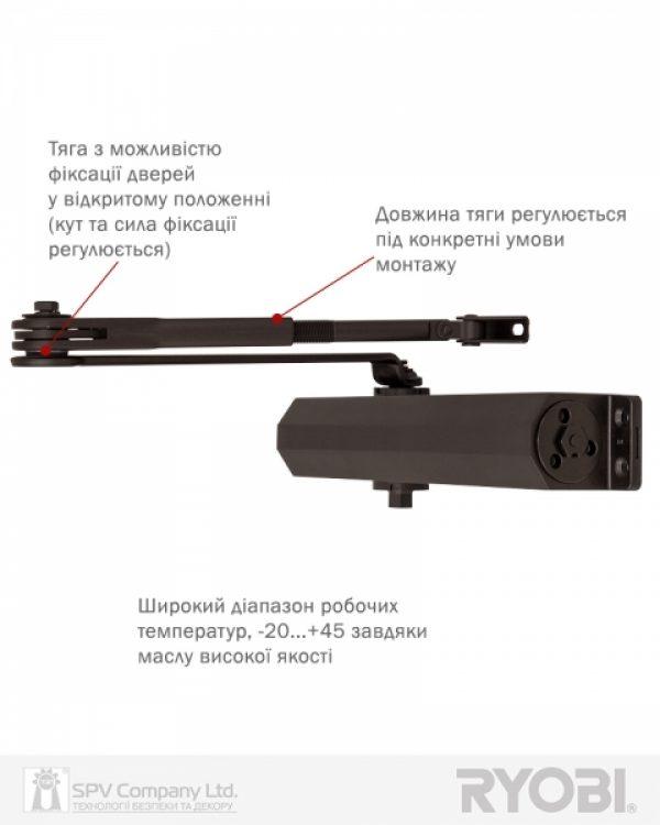 Фото 14 - Доводчик накладной RYOBI 3550 DS-3550 DARK BRONZE BC/DA STD HO ARM EN 2-5 до 100кг 1250мм.