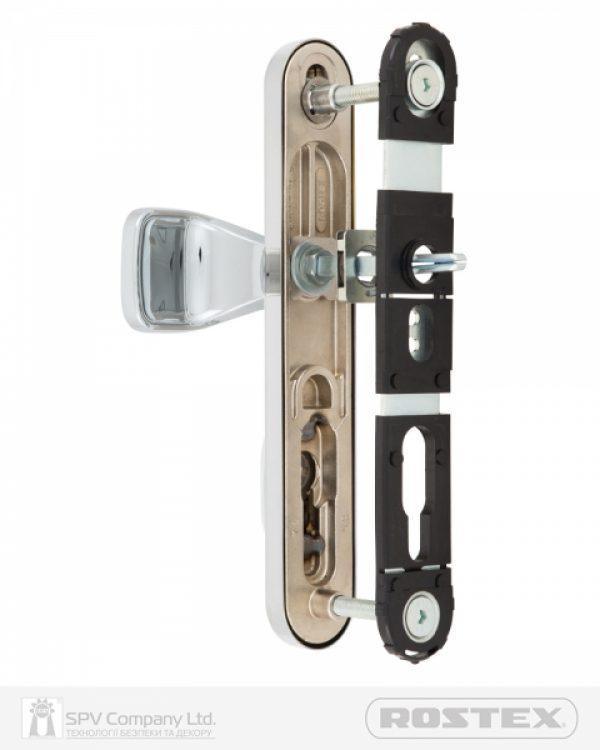 Фото 2 - Фурнитура защитная ROSTEX EXСLUSIVE RX-40 fix-mov DIN PLATE 85мм Хром полірований 22мм 40-50мм 3клас Ovalne/Exclusive CR Комплект.