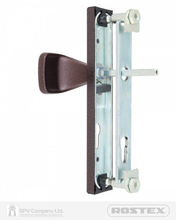 Фото 3 - Фурнитура защитная ROSTEX 802 R fix-mov PZ PLATE 90мм Фарба коричнева антік 38-55мм 3клас Hranate/804 BROWN Комплект.