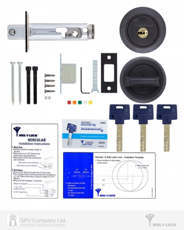 Фото 2 - Замок врезной MUL-T-LOCK 1-WAY DEAD BOLT HERCULAR BLACK DARK UNIV BS60/70мм *INTERACTIVE+ 3KEY DND3D BLUE INS 264S+ wood door SP.