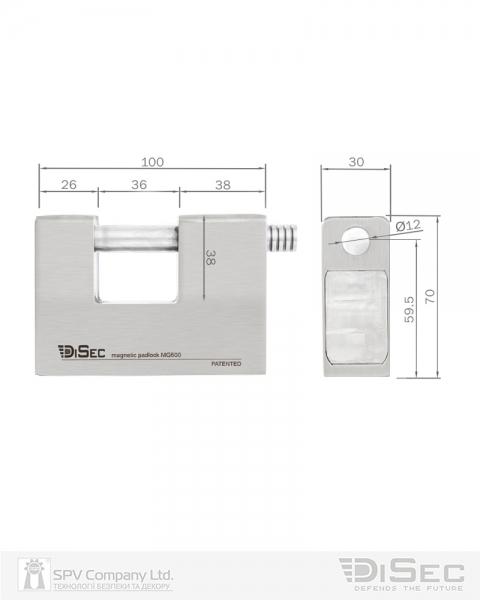 Фото 10 - Замок висячий DISEC MG600 MAGNETIC 6G KM0P20 2KEY 20мм 12мм BOX.