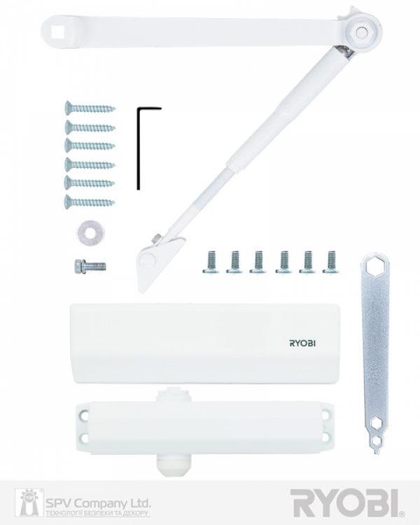 Фото 8 - Доводчик накладной RYOBI *1500 DS-1554 GLOSSY WHITE STD HO ARM EN 2/3/4 до 80кг 1100мм.
