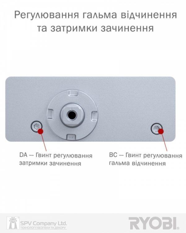 Фото 8 - Доводчик накладной RYOBI 3550 DS-3550P SILVER BC/DA PRL HO ARM EN 2-5 до 100кг 1250мм.