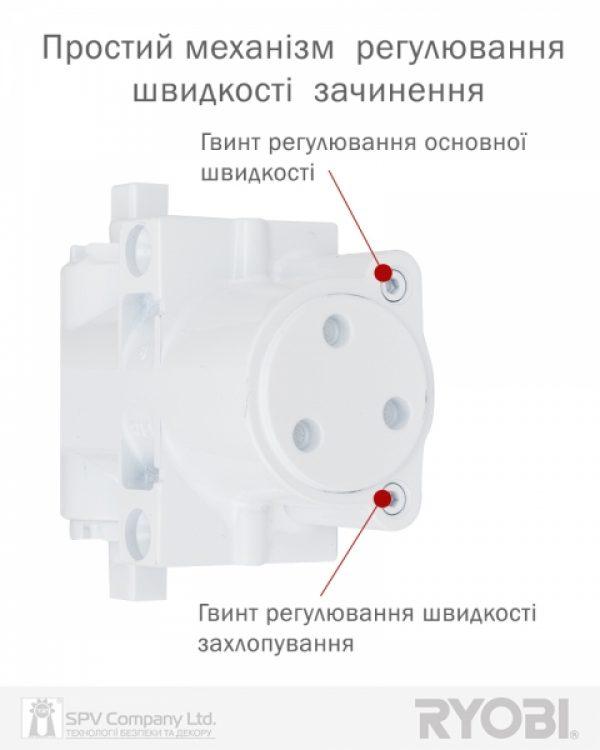 Фото 9 - Доводчик накладной RYOBI DS 4550-4550T WHITE BC/DA SLD HO ARM EN 1-4 до 80кг 1100мм.