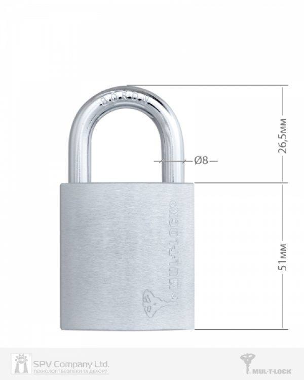 Фото 7 - Замок навесной MUL-T-LOCK G47 7x7 0767 M/S NR shackle 26.5 мм 8мм BOX M.
