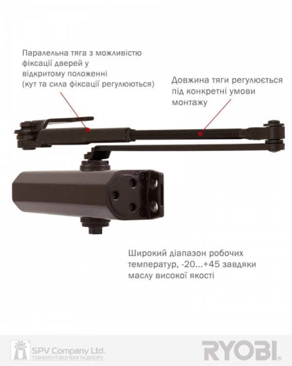 Фото 13 - Доводчик накладной RYOBI 2550 DS-2550P DARK BRONZE BC PRL HO ARM EN 1-4 до 80кг 1100мм.