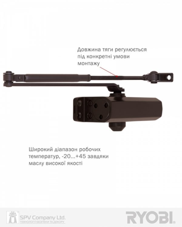 Фото 10 - Доводчик накладной RYOBI *9900 9903 DARK BRONZE STD ARM EN 2/3 до 65кг 965мм.