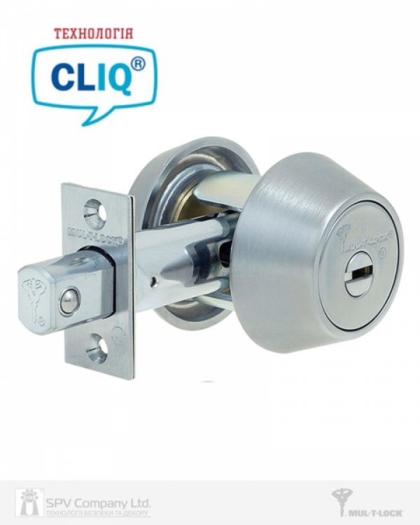 Фото 1 - Замок врезной MUL-T-LOCK 1-WAY DEAD BOLT HERCULAR CHROME MAT UNIV BS60/70мм *MT5+ CLIQ M/S GAMMA RIGHT wood door SP.