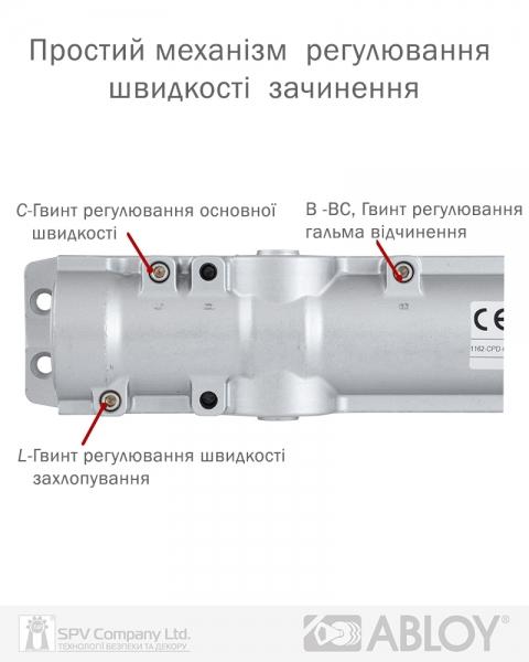 Фото 10 - Доводчик накладной ABLOY R&P DC247 BRASS BC W/O ARM EN 5-7 до 160кг 1600мм FIRE.