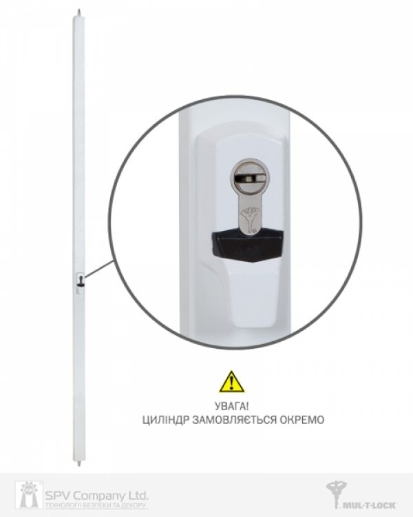 Фото 1 - Замок накладной MUL-T-LOCK 2-WAY DIN EMA WHITE UNIV ВЅ1100мм length 2250mm w/o SP.