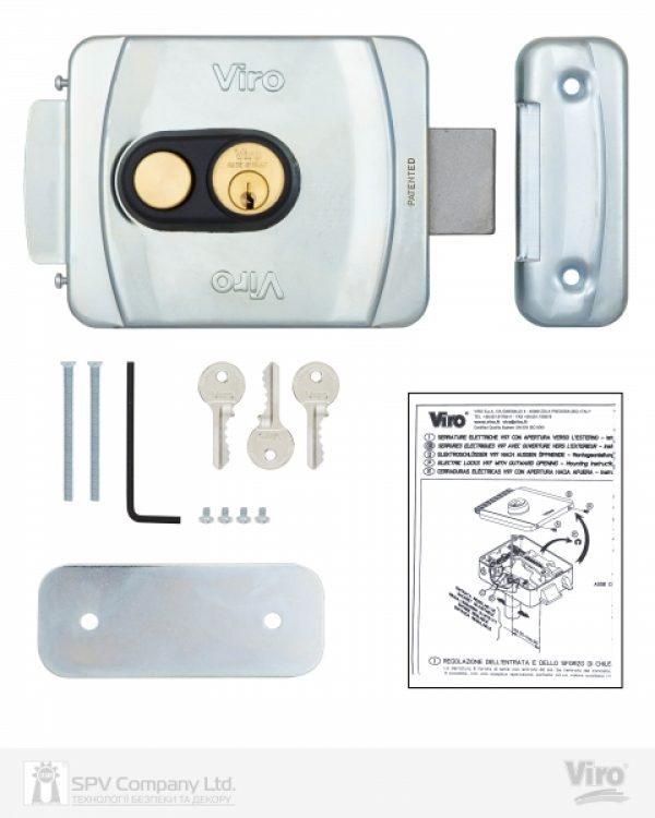 Фото 7 - Замок электромеханический VIRO V9083.0794P BS50/80мм T1/T2 12VAC NC CYL 3KEY GATE накладной, с кнопкой SS открывание внутрь.