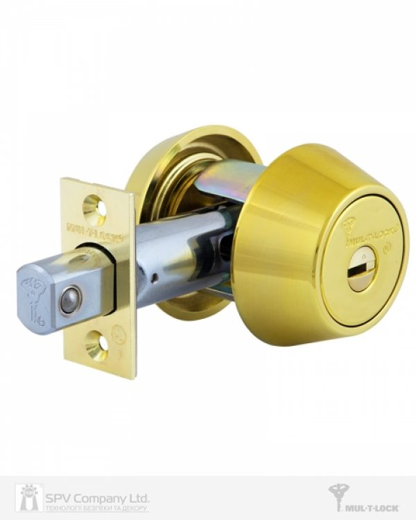 Фото 6 - Замок врезной MUL-T-LOCK 1-WAY DEAD BOLT HERCULAR SHINY BRASS UNIV BS60/70мм *INTERACTIVE+ 3KEY DND3D BLUE INS 264S+ wood door SP.