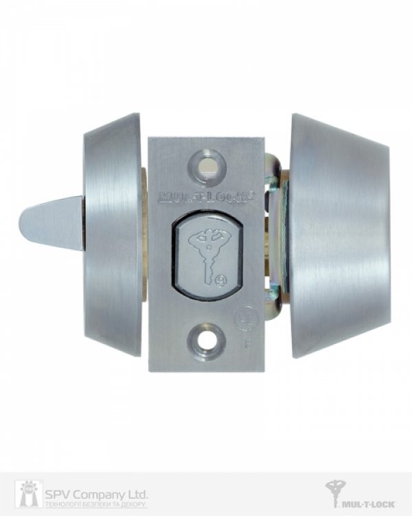 Фото 7 - Замок врезной MUL-T-LOCK 1-WAY DEAD BOLT HERCULAR CHROME MAT UNIV BS60/70мм *MT5+ CLIQ M/S GAMMA RIGHT wood door SP.