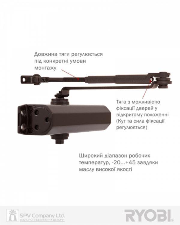 Фото 8 - Доводчик накладной RYOBI *1500 DS-1554 DARK BRONZE STD HO ARM EN 2/3/4 до 80кг 1100мм.