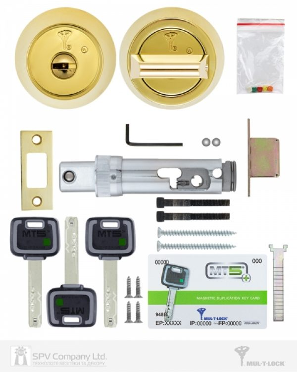 Фото 7 - Замок врезной MUL-T-LOCK 1-WAY DEAD BOLT HERCULAR SHINY BRASS UNIV BS60/70мм *MT5+ 3KEY DND2C B/S 948B metal door SP.