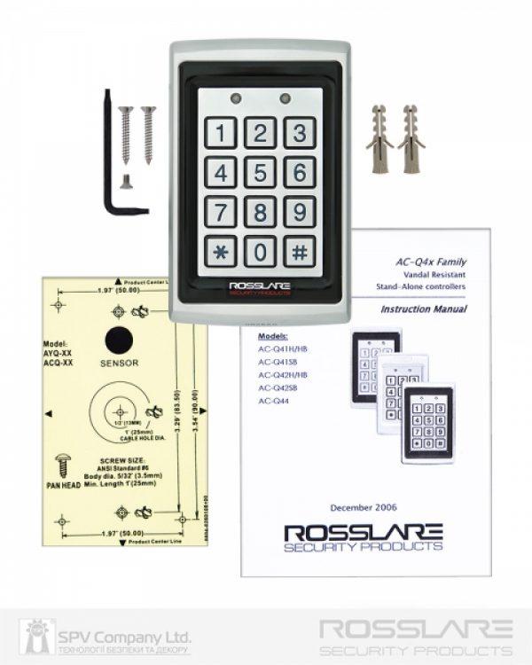 Фото 2 - Электронный контроллер ROSSLARE AC-Q42SB автономный антивандальный внешний код+карта EM-MARINE 125Khz с подсветкой.