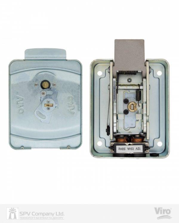 Фото 6 - Замок электромеханический VIRO V9083.0794P BS50/80мм T1/T2 12VAC NC CYL 3KEY GATE накладной, с кнопкой SS открывание внутрь.