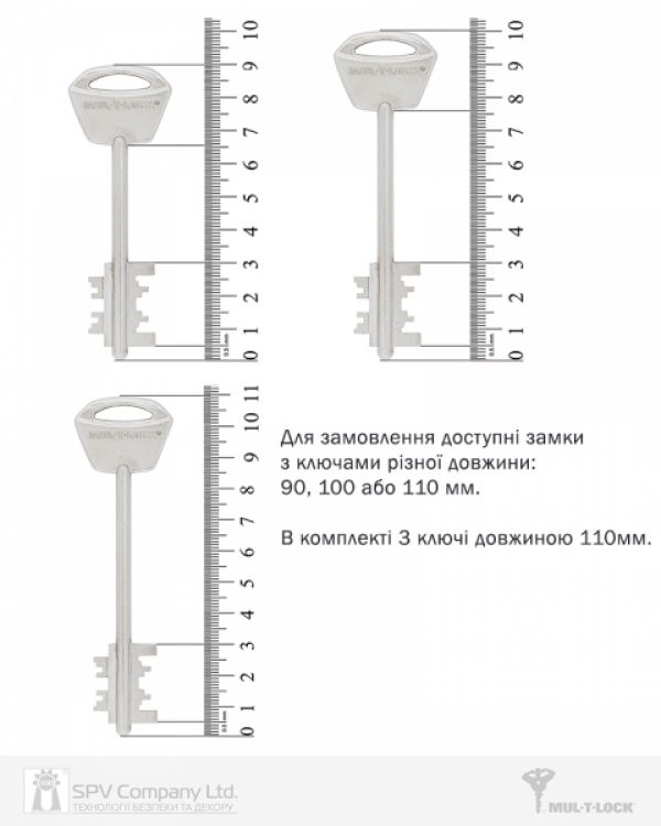 Фото 5 - Замок врезной MUL-T-LOCK 3-WAY MATRIX+DIN DFM30328M CR UNIV ВЅ65мм 85мм 3KEY MTR M 110мм w/o SP.