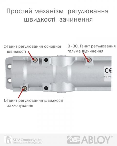 Фото 12 - Доводчик накладной ABLOY CAM DC250 BLACK BC W/O ARM EN 1-6 до 120кг 1400мм FIRE.