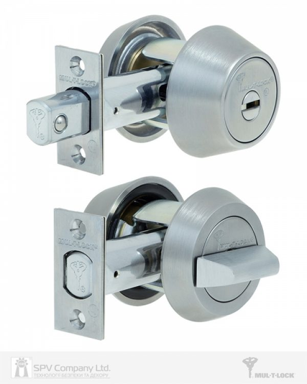 Фото 6 - Замок врезной MUL-T-LOCK 1-WAY DEAD BOLT HERCULAR CHROME MAT UNIV BS60/70мм *MT5+ CLIQ M/S GAMMA RIGHT wood door SP.