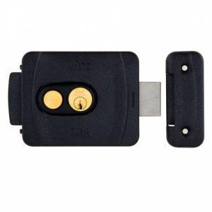Фото 11 - Замок электромеханический VIRO V9083.0794P BS50/80мм T1/T2 12VAC NC CYL 3KEY GATE накладной, с кнопкой BLACK открывание внутрь.