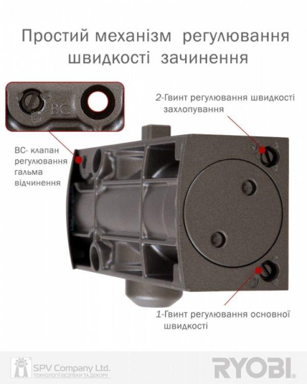 Фото 6 - Доводчик накладной RYOBI 1200 D-1200T METALLIC BRONZE BC SLD HO ARM EN 3 60кг 950мм.