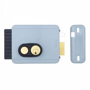 Фото 13 - Замок электромеханический VIRO V97 8972.0794.1 BS50/80мм R 12VAC NC CYL 3KEY GATE накладной, с кнопкой, внутреннего открывания GREY (UKR LEFT T1).