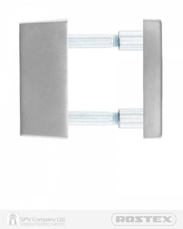 Фото 2 - Фурнитура защитная ROSTEX *QUADRUM R/H mov-mov DIN SQUARE Нерж.сталь мат 23мм 38-45мм 3клас Treviso NEREZ MAT Комплект, крепление ручки накладные.