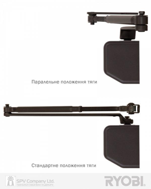 Фото 7 - Доводчик накладной RYOBI 3550 D-3550 DARK BRONZE BC/DA UNIV ARM EN 2-5 до 100кг 1250мм FIRE.