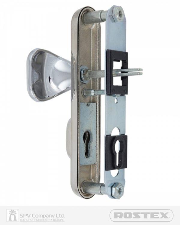 Фото 2 - Фурнитура защитная ROSTEX DECOR R fix-mov DIN PLATE 85мм Хром мат 23мм 40-45мм 4клас Ovalne/Baryt CR MAT Комплект.