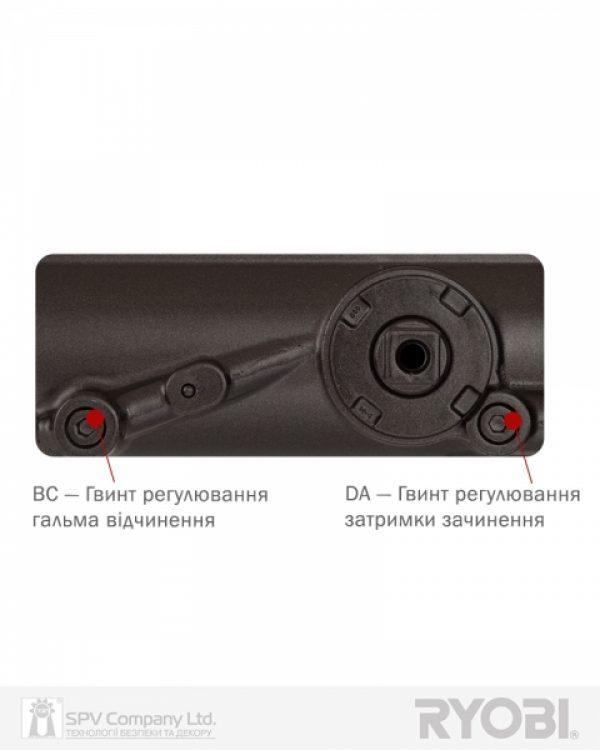 Фото 6 - Доводчик накладной RYOBI DS 4550-4550P DARK BRONZE BC/DA PRL HO ARM EN 2-7+ до 200кг 1400мм.