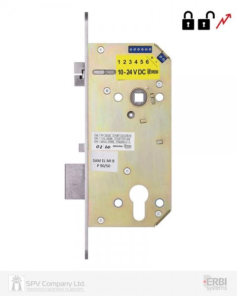 Фото 1 - Замок электромеханический ERBI SAM EL MI B P 9050 ВЅ50мм 90мм FP22 SS UNIV CZECH SOL 10-24V NC EI двусторонний контроль, с датчиками.