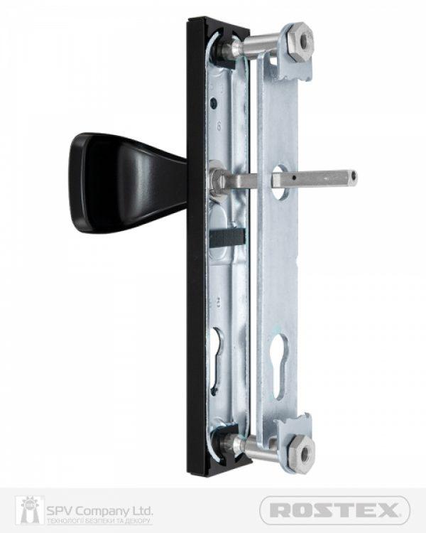 Фото 6 - Фурнитура защитная ROSTEX 802 R fix-mov PZ PLATE 85мм Фарба чорна 38-55мм 3клас Hranate/804 BLACK MAT Комплект.