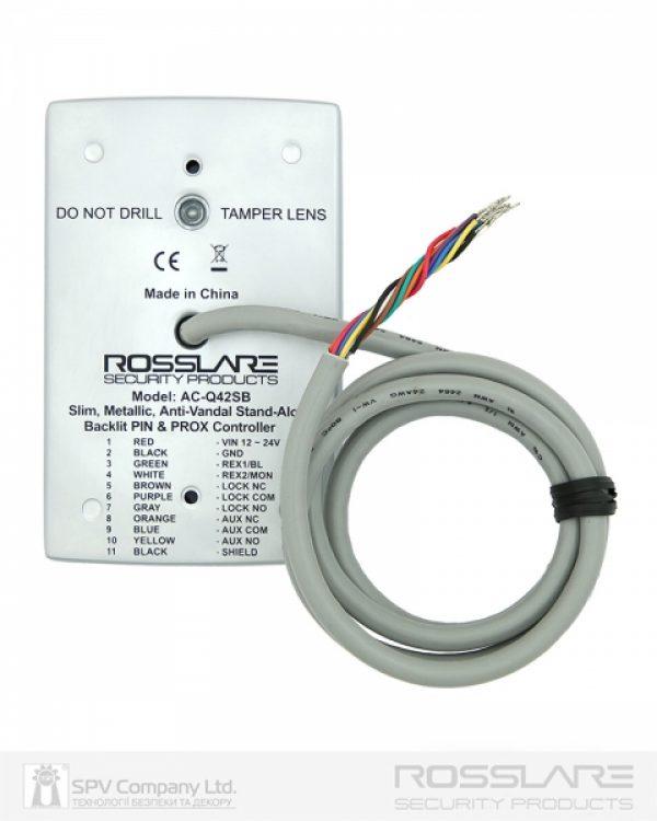 Фото 5 - Электронный контроллер ROSSLARE AC-Q42SB автономный антивандальный внешний код+карта EM-MARINE 125Khz с подсветкой.