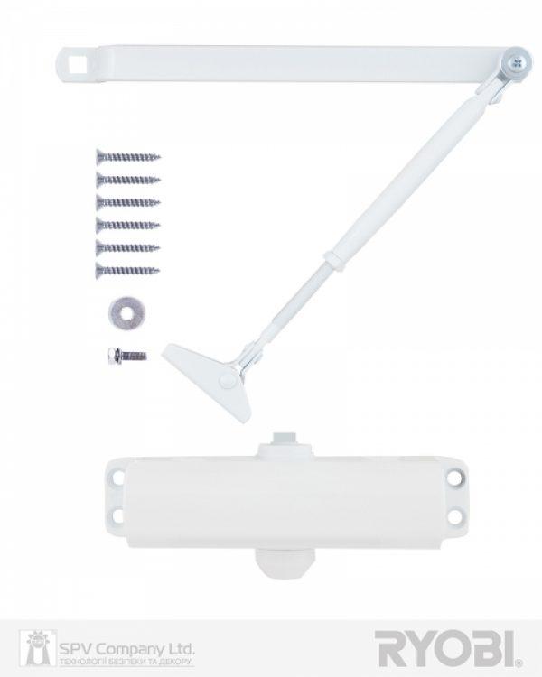 Фото 9 - Доводчик накладной RYOBI *9900 9903 GLOSSY WHITE STD ARM EN 2/3 до 65кг 965мм.