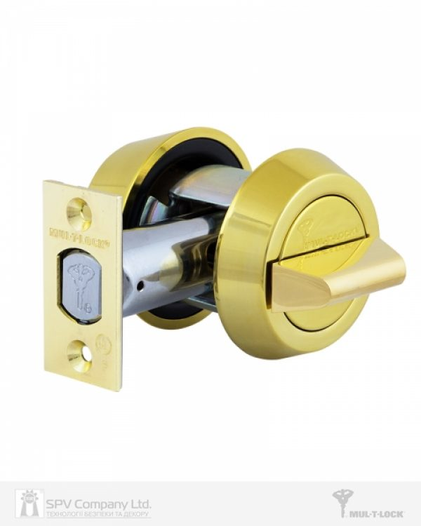 Фото 7 - Замок врезной MUL-T-LOCK 1-WAY DEAD BOLT HERCULAR SHINY BRASS UNIV BS60/70мм *INTERACTIVE+ 3KEY DND3D BLUE INS 264S+ wood door SP.
