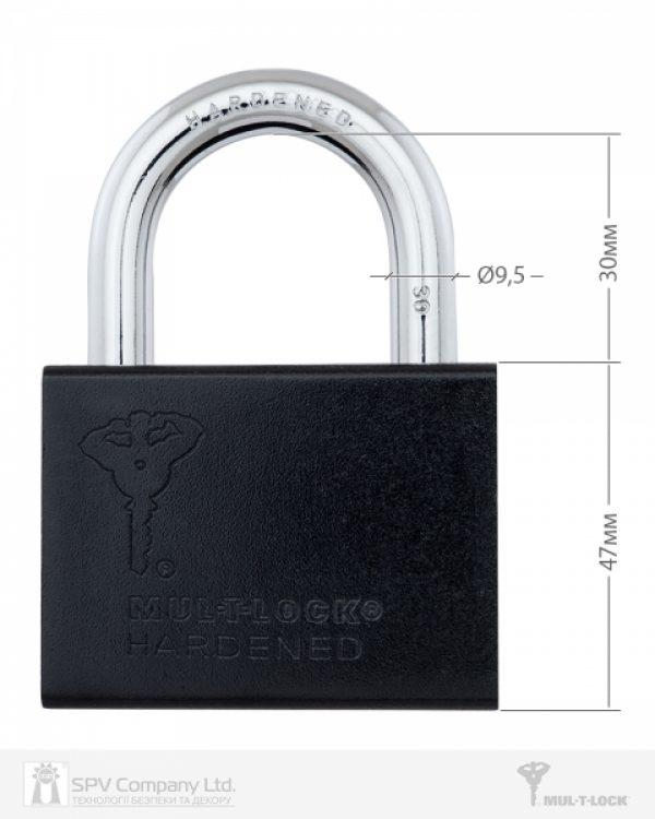 Фото 7 - Замок навесной MUL-T-LOCK M10/C1 CLASSIC 064 2KEY ARC BLACK R shackle 30мм 9,5 мм BOX M.