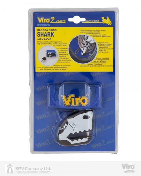 Фото 2 - Замок VIRO MOTO SHARK BLACK/WHITE 2KEY.