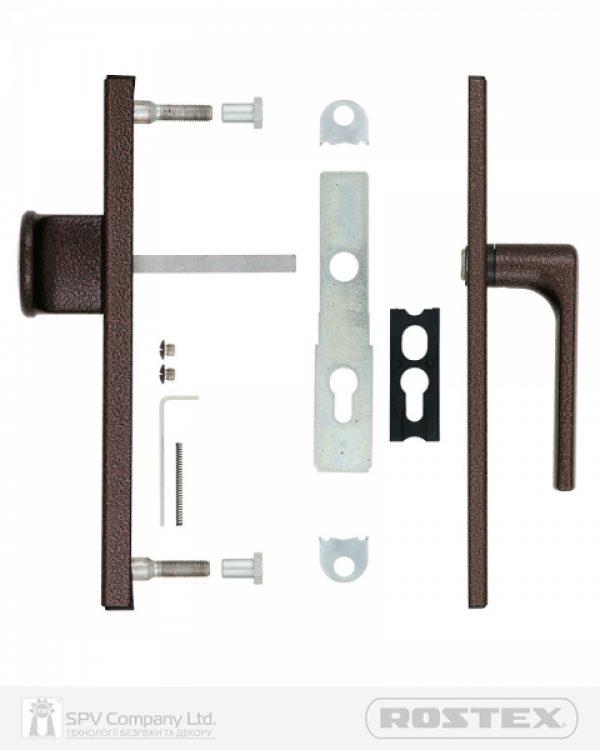 Фото 4 - Фурнитура защитная ROSTEX 802 R fix-mov PZ PLATE 72мм Фарба коричнева антік 40-45мм 3клас Knob/804 BROWN Комплект.