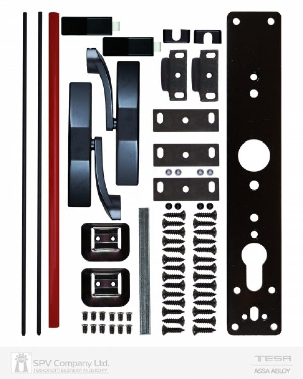Фото 2 - Замок TESA для эвакуационного выхода накладной 1930908 NR N: black (RAL 9005)/R: red (RAL 3000) 2 Locking 900мм 8мм.