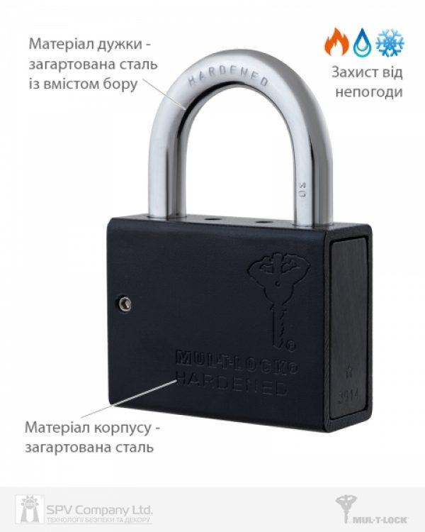 Фото 6 - Замок навесной MUL-T-LOCK M10/C1 CLASSIC 064 2KEY ARC BLACK R shackle 30мм 9,5 мм BOX M.