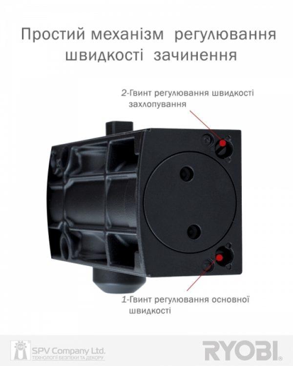 Фото 5 - Доводчик накладной RYOBI 1200 D-1200 GREY ANTHRACITE STD ARM EN 2/3/4 80кг 1100мм.