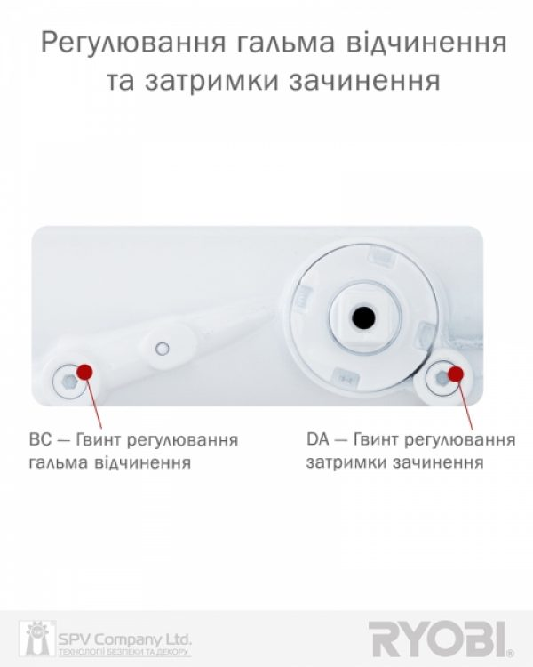 Фото 11 - Доводчик накладной RYOBI DS 4550-4550T WHITE BC/DA SLD HO ARM EN 1-4 до 80кг 1100мм.
