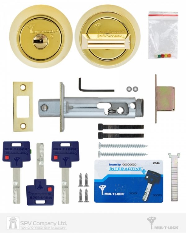 Фото 3 - Замок врезной MUL-T-LOCK 1-WAY DEAD BOLT HERCULAR SHINY BRASS UNIV BS60/70мм *INTERACTIVE+ 3KEY DND3D BLUE INS 264S+ wood door SP.